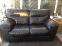 2 black all leather sofas for sale