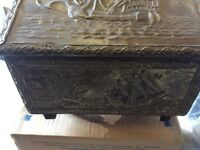 Vintage Brass coal/wood fireside box