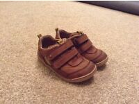 Child's Start-rite shoes, size 6H, worn but good condition, brown with green and orange detail.