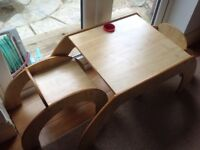 Children's wooden table & two chairs