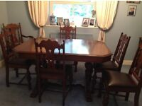 Solid Dark Wood Extending DINING TABLE & 6 CHAIRS
