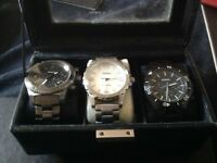 Boxed set 3 fossil gents watches