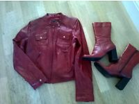 Real leather mid calf boots matching Real leather jacket.