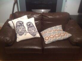 Sofas Faux leather Brown, 3 seater and 2 seater