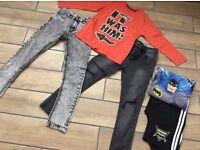 Small bundle of age 9 boys clothes NEXT spray on jeans x2 Batman pj's & long sleeve slogan top