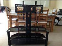 TV stand - 3 black glass shelves