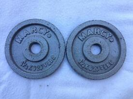 2 x 1.25kg Marcy Standard Silvdr Cast Iron Weights