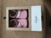 CLARKS PINK LEATHER PRAM SHOES