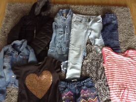 Bundle of girls clothes and Winter coat age 9-11