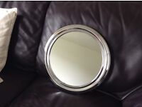 Small silver round mirror