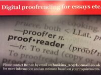 Proofreading services. Qualified by the Society for Editors and Proofreaders.