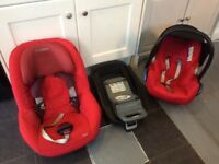 Maxi cosi iso fix family base with 2 car seats red