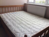 4'6 Double Pine Framed bed with mattress