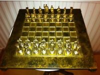 Greek-Roman Brass-Metal Themed Chess Set