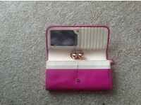 Ted Baker purse, fuschia pink with mauve gems on clasp with TB emboli she on them