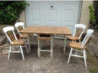 ANTIQUE SOLID PINE GATE LEG KITCHEN DINING TABLE & 4 HEAVY ELM CHAIRS. VICTORIAN.