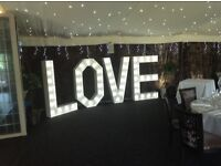 Not 3ft or 4ft , but 5ft high illuminated LOVE letter hire,