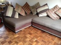 Left Hand Leather and Fabric Pillow back Corner Sofa