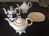 3 LARGE ANTIQUE TEAPOTS 1 with 2 MATCHING PLATES.