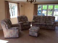 G-plan 3 piece suite with matching footstool