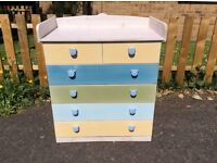 SOLID PINE BABY CHANGING SIX DRAWER CHEST / UNIT