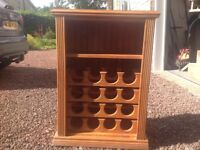 Solid pine wine rack with shelf