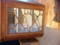 Antique oak wall corner cabinet