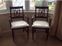 Pair brand new mahogany hardwood chairs by Caxton furniture