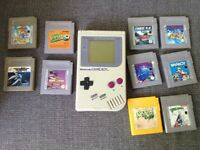 Nintendo original gameboy and 10 games