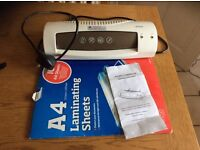 A4 Laminator c/w 15 sheets/pouches and instructions