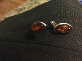 925 silver amber earrings nice gift