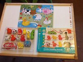 Wooden threading animals plus jigsaw