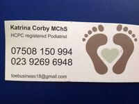 Chiropodist/Podiatrist. Portsmouth and Wickham Foot and lower limb issues