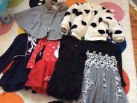 Occasional dresses bundle plus fur coat/ cape age 1-3