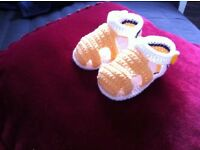 Hand knitted baby sandals 100% cotton,size 10cm*