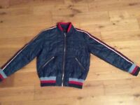 Ladies retro blue bomber jacket.