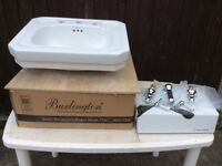 Basin (recessed) by Burlington and Crosswater taps. Brand new and boxed