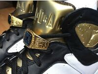 GREAT PRICE £199 Nike Air Jordan 7 UK11.5 White/Black/Gold WHITE MOET Champagne Championship AJ7