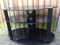 Oval Black Glass TV Stand