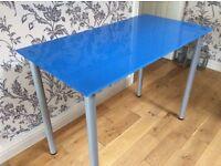 Ikea Blue Glass Table