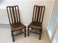 Pair of vintage oak antique dinning chairs, excellent condition.