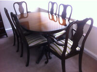 Extending oval mahogany dinning table & 6 chairs