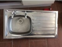 Steel kitchen sink with taps 94cms long 48.5cms wide