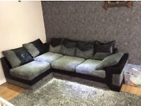 Dylan jumbo cord black grey left hand corner + 3 seater bargain price brill condition, no pets ,