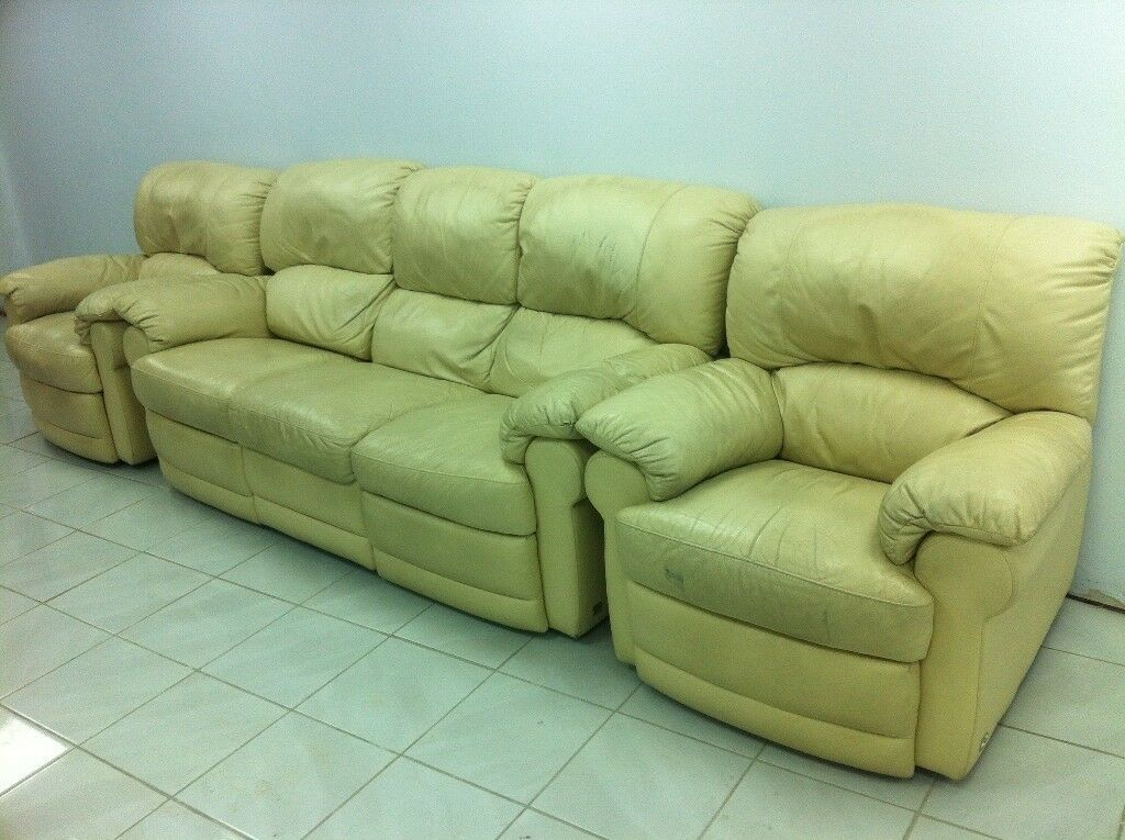 3 Piece Cream Leather Recliner Sofa Suite Seater 2 Armchairs Can Deliver Locally