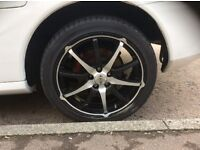 """Almost new 5 tyres (17"""") with 5 alloys (including spare) for quick sale."""