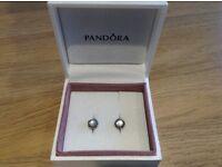 Pandora SILVER APRIL BIRTHSTONE ROCK CRYSTAL STUD earrings