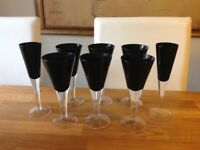Set of Black Wine and Champagne Glasses from M&S