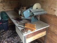 Wood turning lathe with all attachments, sanding disk chisels cash only must collect