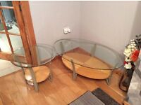 Set of 3 matching glass tables
